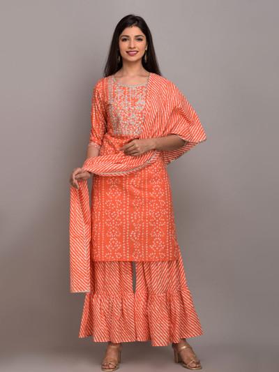 Orange punjabi style printed festive functions cotton sharara suit