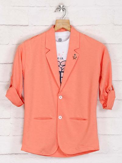 Orange solid blazer with t-shirt