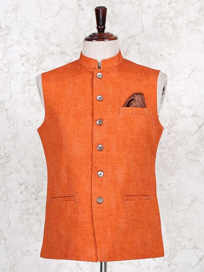 Orange stripe style mens cotton waistcoat