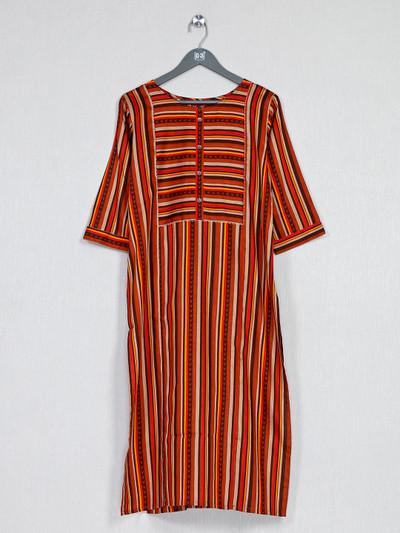 Orange thread work kurti in  cotton