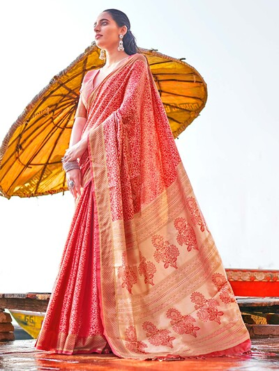 Orange wedding session handloom cotton saree