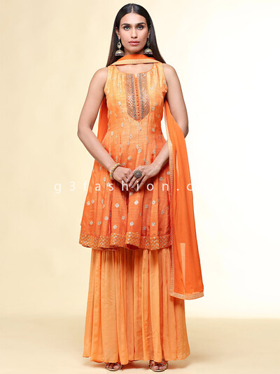 Orange wedding wear raw silk suit