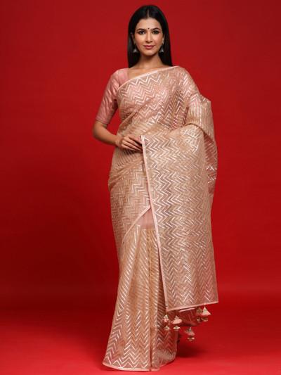 Organza Silk Pink Party Wear Saree