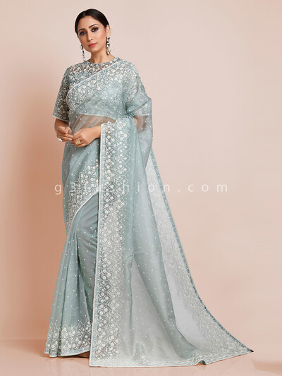 Organza tissye silk sea green saree with readymade blouse