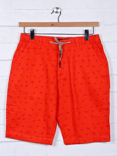 Origin printed pattern red slim fit shorts
