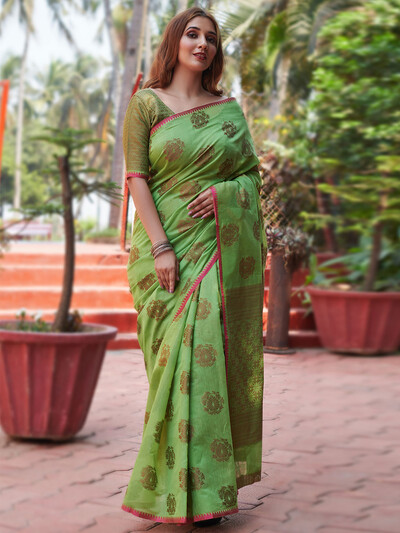Ornate olive festive wear handloom cotton saree for women