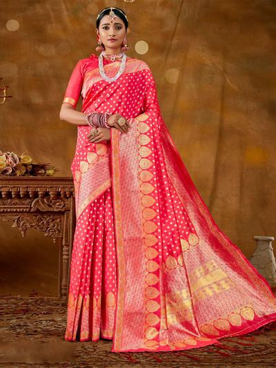 Ornate pink wedding wear banarasi silk saree for women