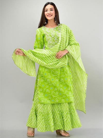 Parrot green cotton punjabi style festive sharara suit