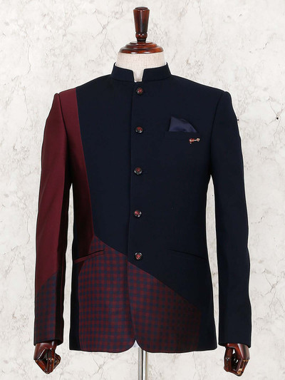 Party function navy terry rayon jodhpuri suit