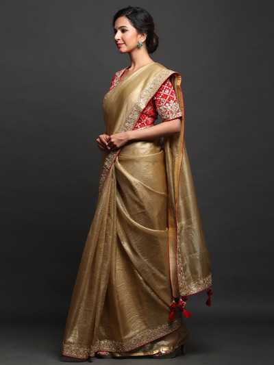 Party Wear Beige Organza Silk Saree with readymade blouse
