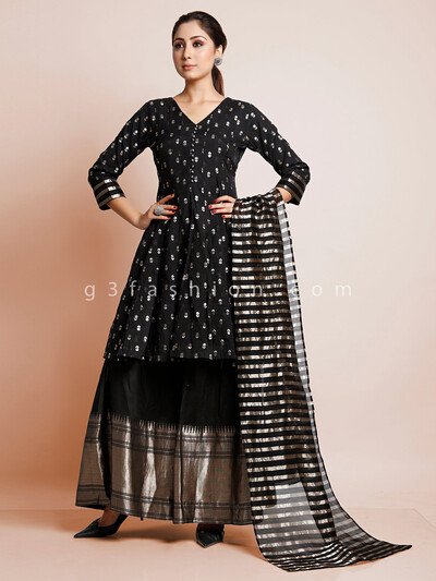 Party wear black sharara suit in cotton silk