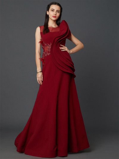 Party wear designer floor length red hue gown