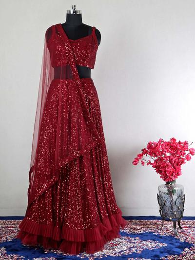 Party wear lehenga choli in maroon hue