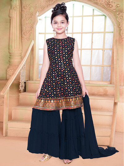 Party wear navy georgette palazzo suit