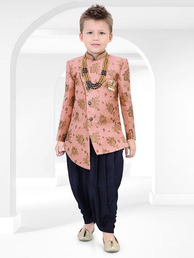 Party wear pink printed raw silk indo western