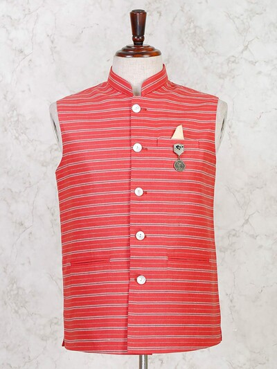 Party wear red stripe cotton silk waistcoat