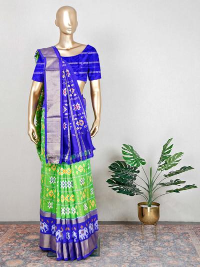 Patola silk green and blue wedding saree