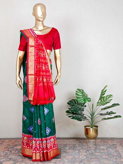 Patola silk green and red wedding saree