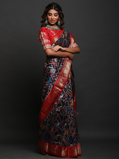 Patola Silk Navy Blue Saree with readymade blouse