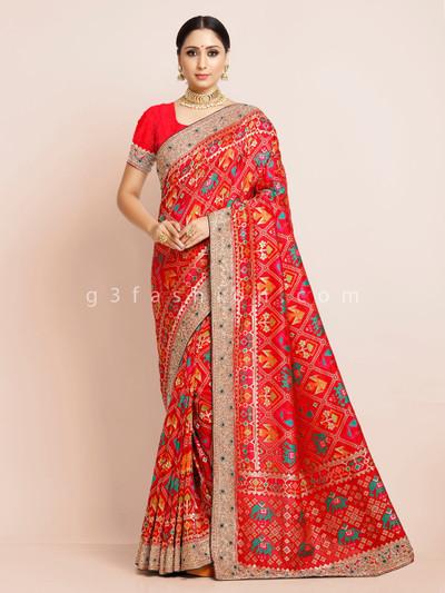 Patola silk red wedding function saree