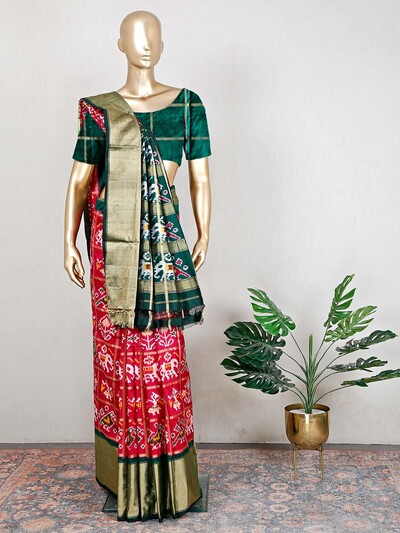 Patola silk wedding saree in magenta and green