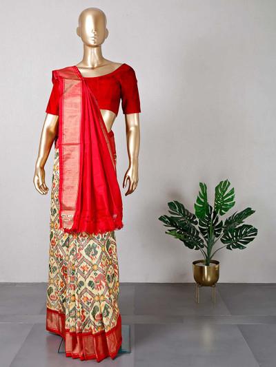 Patola silk yellow wedding wear saree