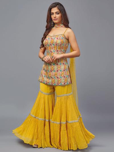 peach and yellow hue punjabi sharara suit