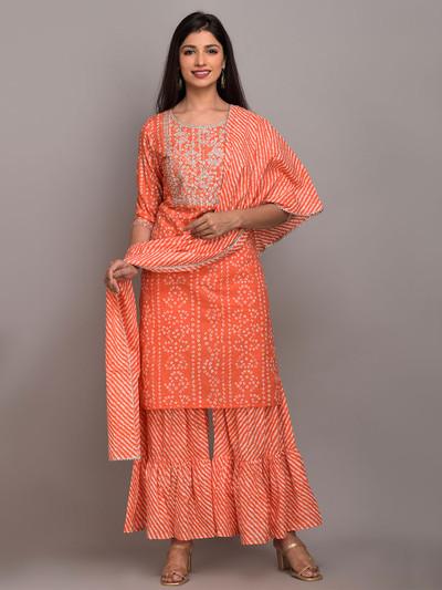 Peach color cotton punjabi style festive wear sharara suit