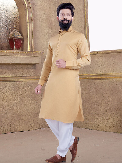 Peach color simple pathani suit