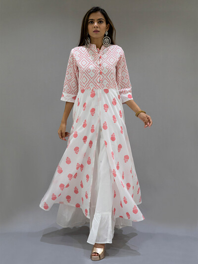 Peach cotton punjabi style festive wear lehenga suit