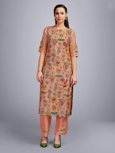 Peach cotton round keyhole neck kurti