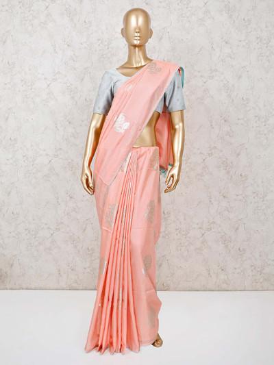 Peach muga silk saree in foil zari weaving