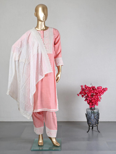 Peach cotton silk palazzo suit for wedding