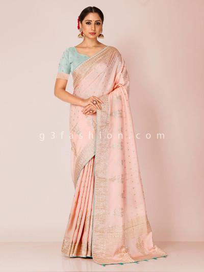 Peach dola silk saree for wedding