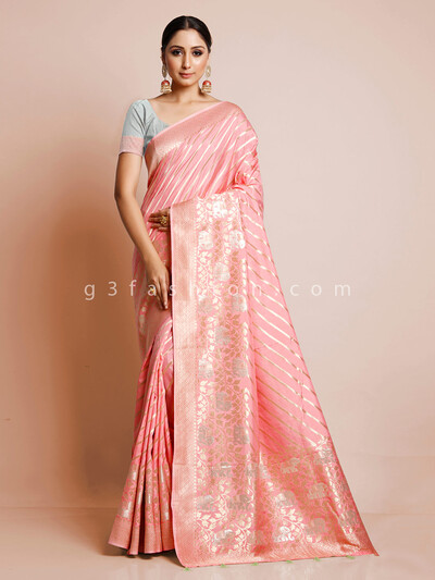 Peach dola silk saree for wedding events