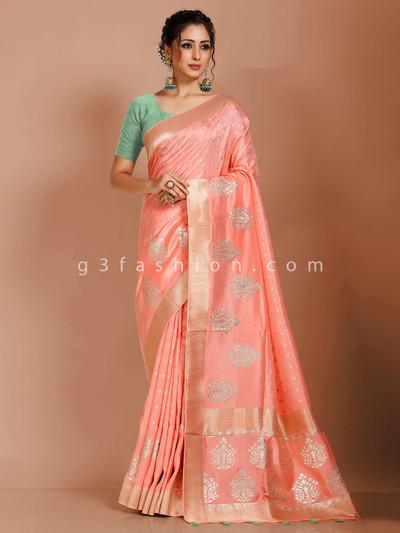 Peach dola silk saree in reception function