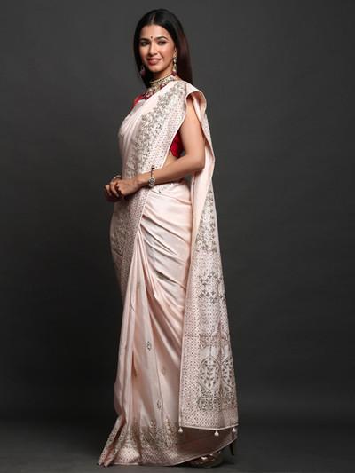Peach Festive Wear Silk Saree