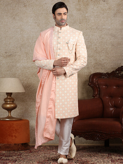 Peach georgette fabric sherwani for wedding