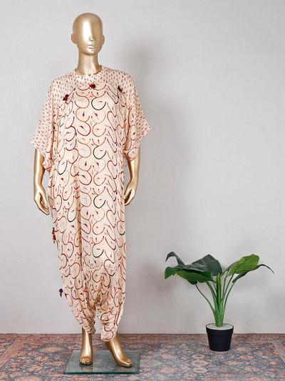 peach georgette festive wear printed indo western suit
