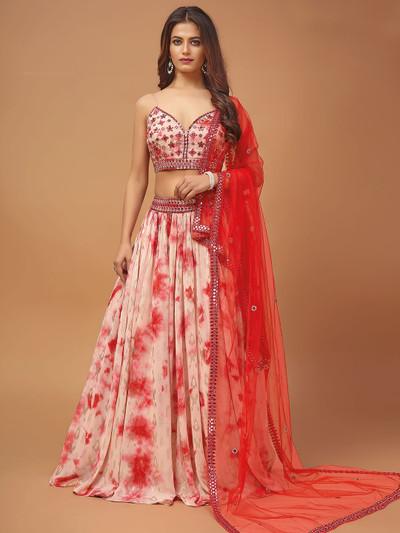 Peach georgette printed wedding wear lehenga choli
