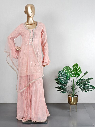 Peach georgette sharara suit for wedding