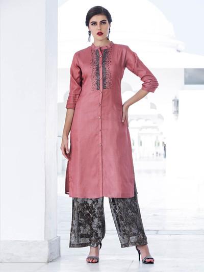 Peach hue pretty cotton silk kurti for casual wear