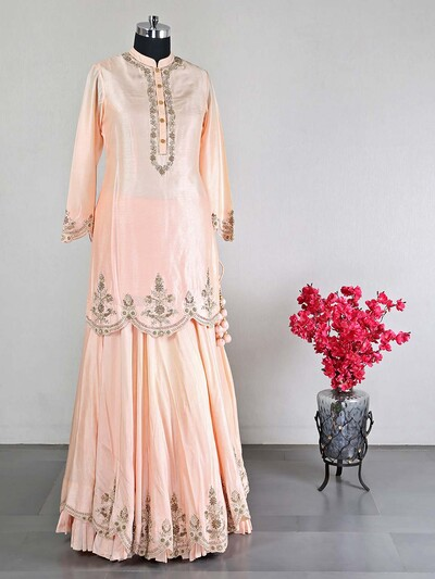 Peach lehenga style salwar suit for women