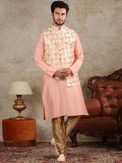 Peach mens waistcoat set in raw silk fabric