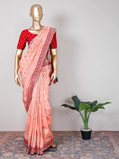 Peach muga silk saree for festive collection