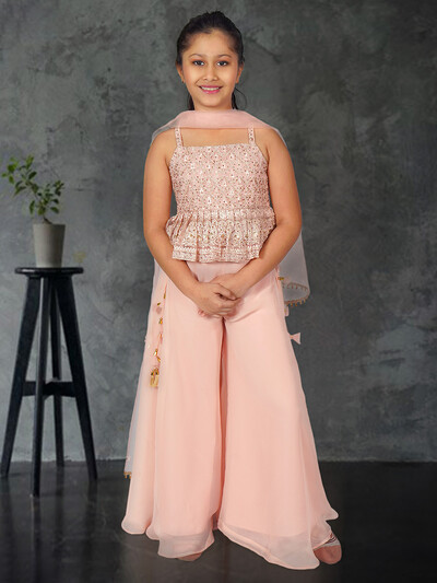 Peach net georgette wedding wear punjabi palazzo suit