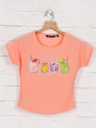 Peach printed casual top for girls