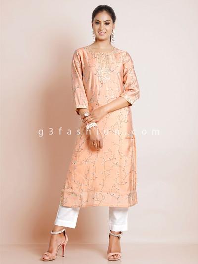 Peach printed cotton women kurti