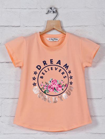 Peach printed girls cotton top