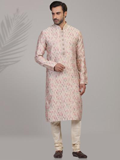 Peach printed jacquard silk mens kurta suit